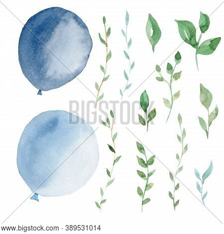 Hand Drawn Watercolor Clipart Set Of Light Blue Balloons And Greenery Leaves. Graphic Illustration.
