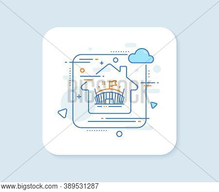 Sports Stadium Line Icon. Abstract Vector Button. Arena With Flag Sign. Sport Complex Symbol. Arena