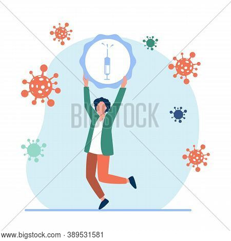 Man Inventing Vaccine Against Viruses Illustration. Treatment, Microbe, Protection. Health Concept C