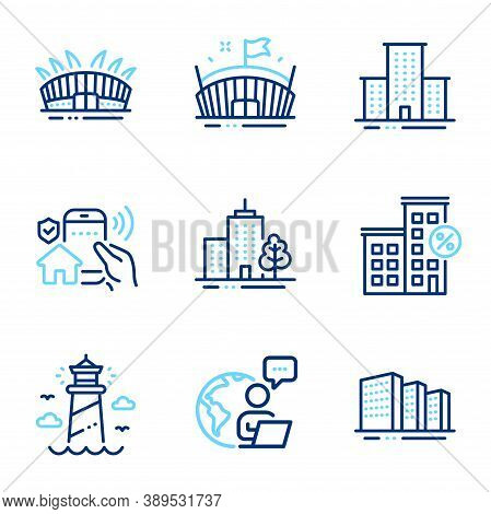 Buildings Icons Set. Included Icon As Loan House, Buildings, Lighthouse Signs. House Security, Arena
