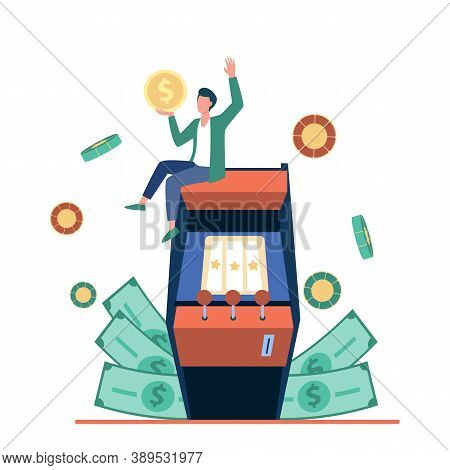 Excited Tiny Man Enjoying Victory In Slot Machine Illustration. Fortune Or Gambling Concept Can Be U