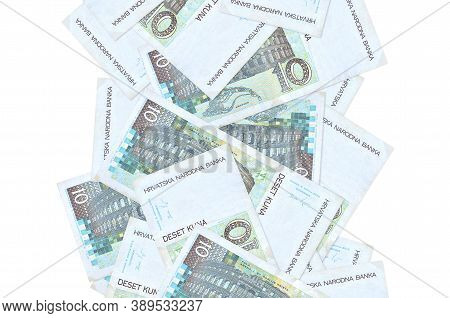 10 Croatian Kuna Bills Flying Down Isolated On White. Many Banknotes Falling With White Copyspace On