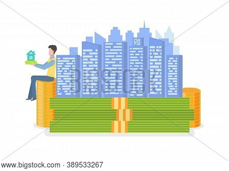 Coins And Money Decorations, Sitting Man Holding House Sign, Skyscraper Or Building In Flat Design S