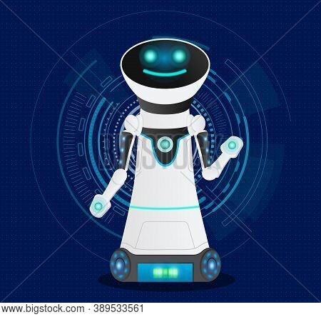 Futuristic Friendly Smiling Cyborg With Artificial Intelligence. Dark Blue Background With Electroni