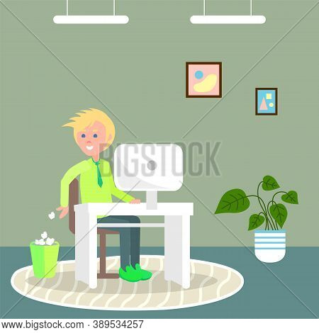 Young Blond Guy Sitting At White Stylish Table With White Monoblock. The Guy Throws Crumpled Paper L
