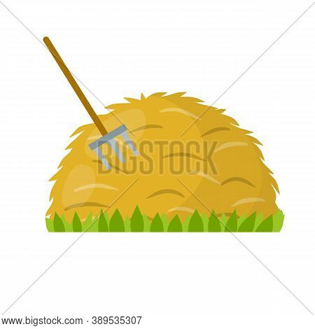 Yellow Haystack And Hayfork. Cartoon Flat Illustration. Rustic Sheaf. Countryside Harvest Of Crop.