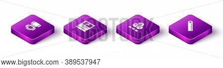 Set Isometric Carton Cardboard Box, Photo Album Gallery, Rgb Color Mixing And Ruler Icon. Vector