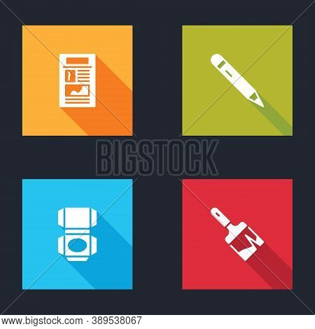 Set News, Pencil With Eraser, Carton Cardboard Box And Paint Brush Icon. Vector