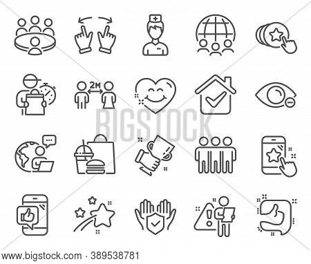 People Icons Set. Included Icon As Friendship, Global Business, Winner Cup Signs. Like, Myopia, Star