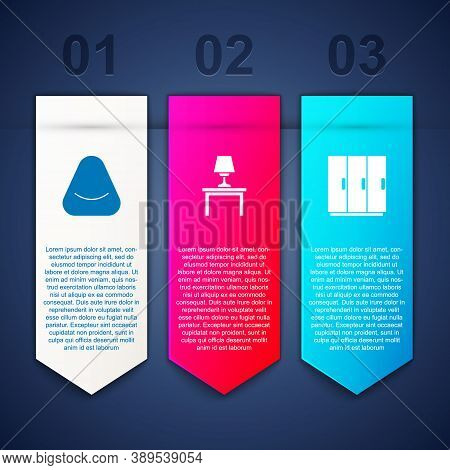 Set Pouf, Table Lamp On Table And Wardrobe. Business Infographic Template. Vector