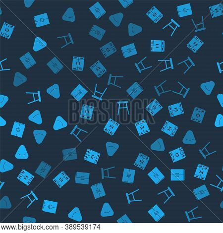 Set Wardrobe, , Chair And Pouf On Seamless Pattern. Vector