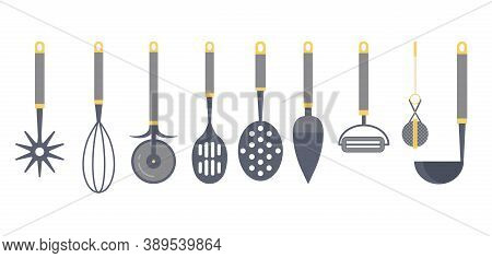 Kitchen Utensils And Cooking Tools Icon Set
