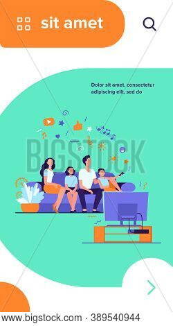 Cartoon Happy Family Watching Television Together Isolated Flat Vector Illustration. Mother, Father