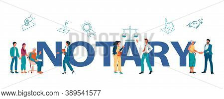 Public Notary Service Banner Template With Characters Flat Vector Illustration.