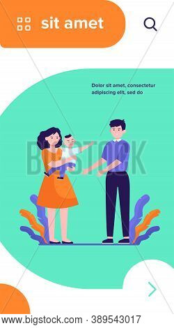 Parents Soothing Little Child. Sad Mom Giving Crying Son To Smiling Dad Flat Vector Illustration. Pa