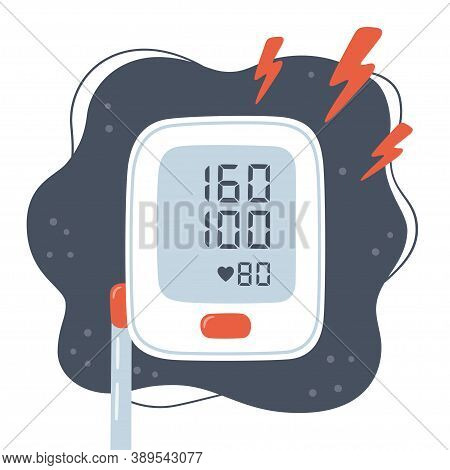 Medical Tonometer And High Blood Pressure. Risk Of Hypertension. Electronic Blood Pressure Monitor.