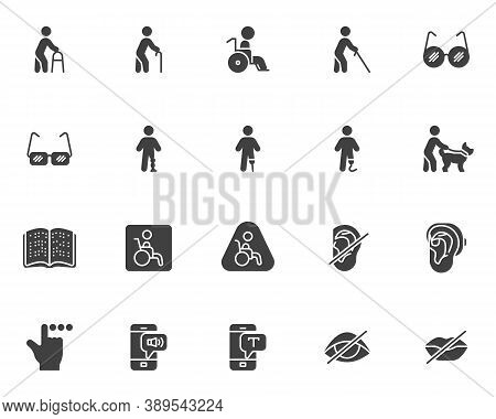 Disability Vector Icons Set, Modern Solid Symbol Collection, Filled Style Pictogram Pack. Signs, Log