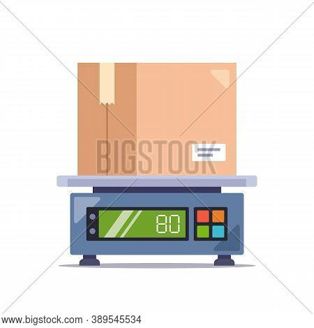 Weigh The Parcel In A Cardboard Box On An Electronic Scale. Flat Vector Illustration Isolated On Whi