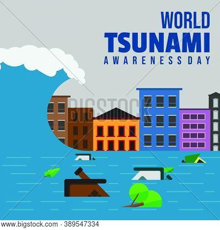World Tsunami Awareness Day Vector Illustration With Tsunami-stricken Building Landscape And Flood D