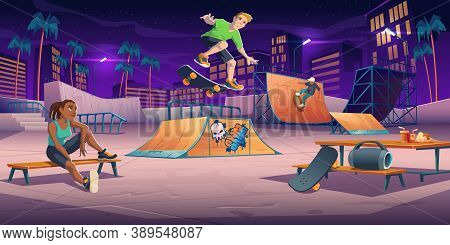 Teenagers At Night Skate Park, Rollerdrome Perform Skateboard Jumping Stunts On Pipe Ramps And Relax