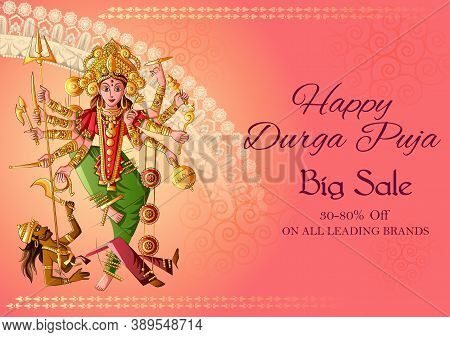 Vector Design Of Indian Goddess Durga For Sale And Promotion Background In Holiday Festival Of India