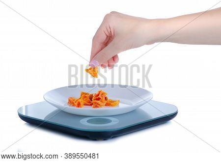 Kitchen Scale With Plate In Hand On White Background Isolation