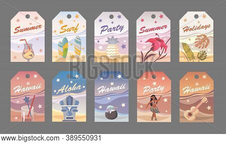 Flat Vector Summer Tag In Hawaiian Style. Party, Surf, Holidays, Aloha. Flat Vector Illustration Can