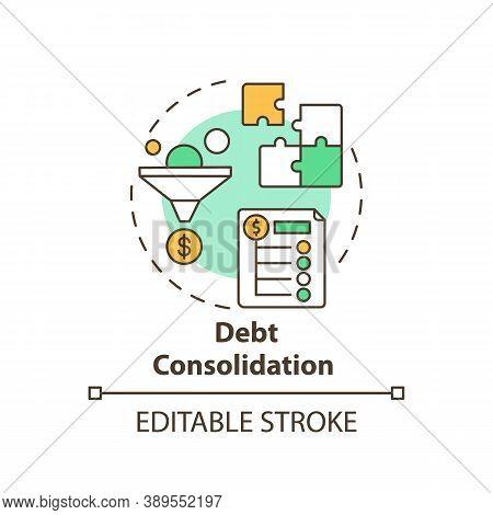 Debt Consolidation Concept Icon. Mortgage Refinance Benefit Idea Thin Line Illustration. High Consum
