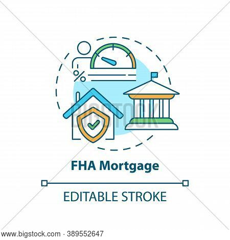 Fha Mortgage Concept Icon. Federal Housing Administration Type Idea Thin Line Illustration. Low Loan