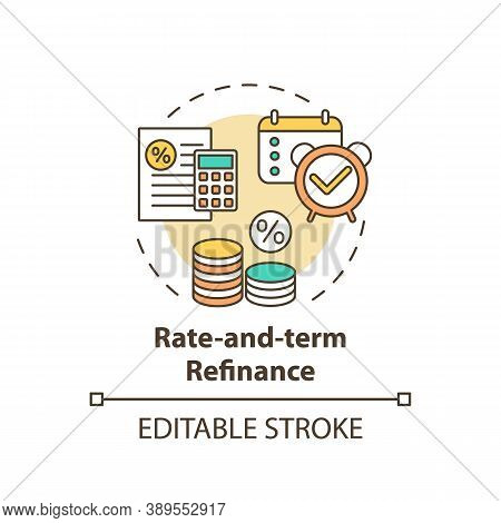 Rate-and-term Refinance Concept Icon. Mortgage Refinancing Type Idea Thin Line Illustration. Loan Im