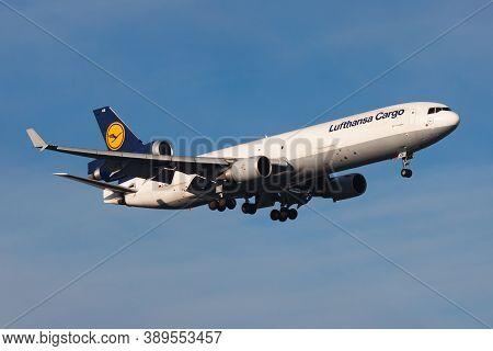 Frankfurt / Germany - December 8, 2012: Lufthansa Cargo Md-11 D-alce Cargo Plane Landing At Frankfur