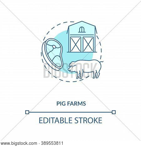 Pig Farms Concept Icon. Farm Production Types. Healthy Meat Growing. Mamal Ranch Farm. Animal Foods