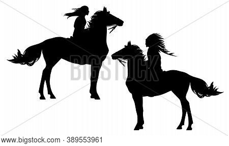 Native American Tribal Chief And Indian Woman Riding Horse - Black And White Vector Silhouette Set