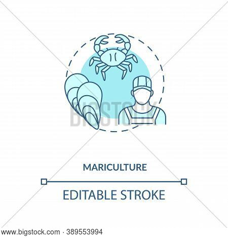 Mariculture Concept Icon. Shellfish Production. Seafoods Growing Places. Luxury Meals Ingredients. A