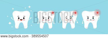 Tooth Pain Stages Icon Set. Cute Sick Teeth On Different Stages Of Toothache Development. Flat Carto