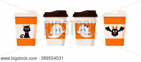 Halloween Pack Coffee Or Tea Cups Decorated With Cute Characters - Black Cat, Bat, Ghots Boy And Gir