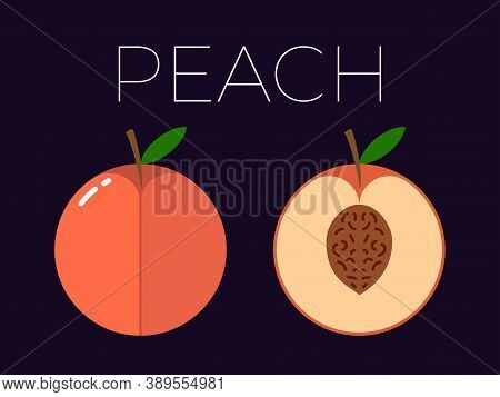 Vector Of Peach And Sliced Half Of Peach On Dark Background