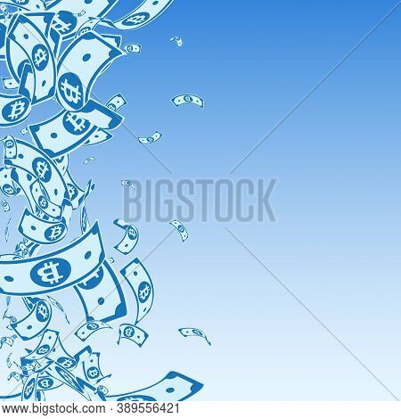 Bitcoin, Internet Currency Notes Falling. Messy Btc Bills On Blue Sky Background. Cryptocurrency, Di