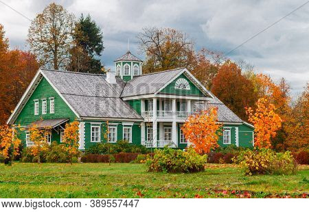 Pskov Region, Russia - October 11, 2020: The House Of P. A. Hannibal On A Cloudy Autumn Day. Pushkin