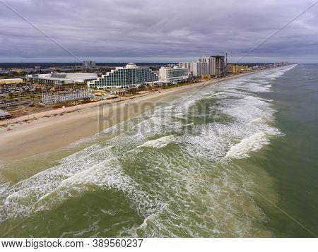 Daytona Beach Hilton and oceanfront aerial view in a cloudy day, Daytona Beach, Florida FL, USA.