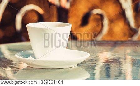 Close Up Coffe Cups. Closeup. Coffe Time. Black Coffee. Coffe Cup. Cappuccino And Black Espresso Cof