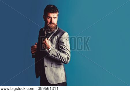 Elegant Man In Business Suit. Male In Tuxedo. Elegant Handsome Man In Suit. Handsome Bearded Busines