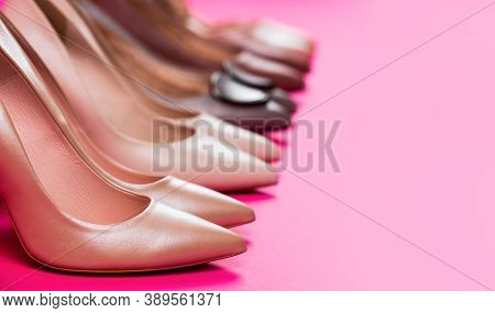 Shoe For Women. Beauty And Fashion Concept. Fashionable Women Shoes Isolated On Pink Background. Sty