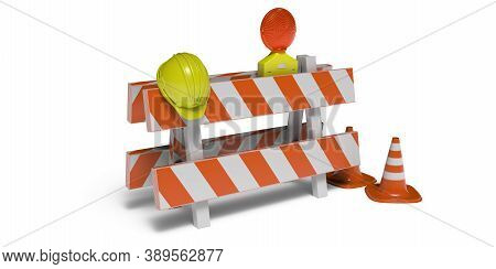 Road Works Warning Equipment Isolated On White Background. 3D Illustration
