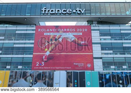 Paris, France. October 04. 2020. Office Of The France Televisions Group, Located Near The Garigliano
