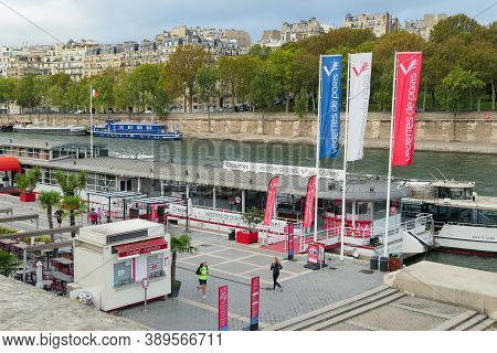 Paris, France. October 04. 2020. Tourist Attraction On The Seine Near The Eiffel Tower. Boats Restau
