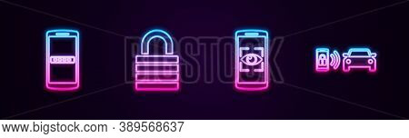 Set Line Mobile And Password, Lock, Eye Scan And Smart Car Alarm System. Glowing Neon Icon. Vector