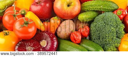 Composition of ripe and fresh vegetables and fruits. Background