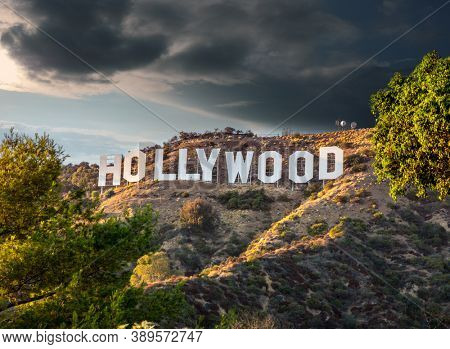 HOLLYWOOD CALIFORNIA - FEBRUARY 24: The world famous landmark Hollywood Sign on February 24, 2020 in Los Angeles, California.