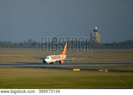 BUDAPEST, HUNGARY - CIRCA 2010: EasyJet A319 airliner taxiing at Budapest Liszt Ferenc Airport